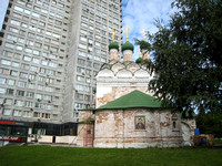 Little church of Semeon Stopnik next to a high rise on Noviy Arbat